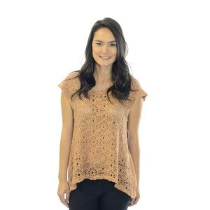 Nightcap Clothing Apricot Beige Lace Front Top M